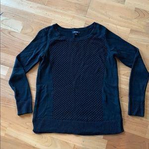 Black Sweater Open Knit in Front